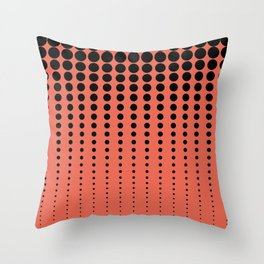 Reduced Black Polka Dots Pattern on Solid Pantone Living Coral Background Throw Pillow