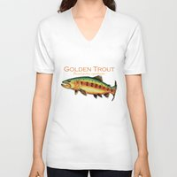 trout V-neck T-shirts featuring Golden Trout by MoosePaw