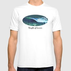 Thoughts of Summer MEDIUM White Mens Fitted Tee