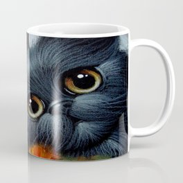 FANTASY BLACK PERSIAN ANGEL CAT & POPPPIES Coffee Mug