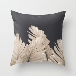 Sepia Banana Leaves Dream #3 #foliage #decor #art #society6 Throw Pillow