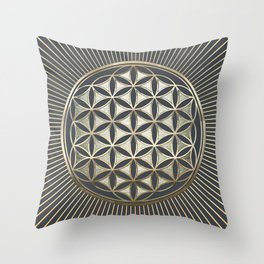 Flower of life metallic embossed Throw Pillow