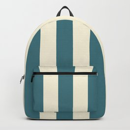Blue-green and cream  vertical stripes Backpack