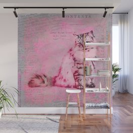 Cute Cat Pink Mixed Media Art Wall Mural