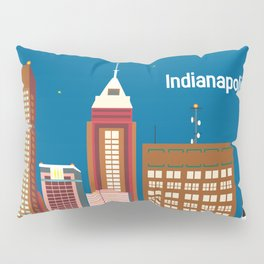 Indianapolis, Indiana - Skyline Illustration by Loose Petals Pillow Sham