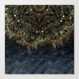Stylish Gold floral mandala and confetti Canvas Print