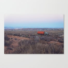 Pastel Sunsets in the Desert, Plus Truck Canvas Print