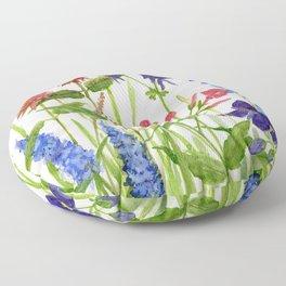 Garden Flowers Botanical Floral Watercolor on Paper Floor Pillow
