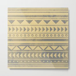 Ethnic geometric pattern with triangles circles and lines Metal Print