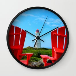 Lighthouse and chairs in Red White and Blue Wall Clock