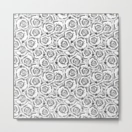 Black and white floral pattern . Roses. Metal Print