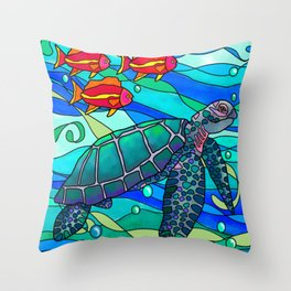 Sea turtle swimming with coral fish Throw Pillow