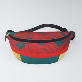 Irregularity II - Abstract Red Marble Metal Fanny Pack