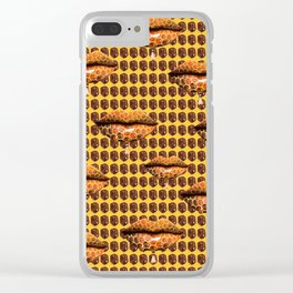 Sweet Lips Pop Art #3 orange and brown pop art, cartoon decorative pattern, woman themed design Clear iPhone Case