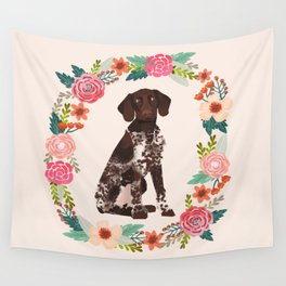 german shorthair pointer floral wreath spring dog breed pet portrait gifts Wall Tapestry