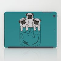 pocket iPad Cases featuring Pocket Pugs_Teal by Kellabell9