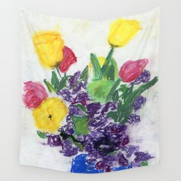 Still Life with Tulips and Sweet Peas Wall Tapestry