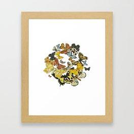 A Kaleidoscope Of Vintage Butterflies Vector Framed Art Print