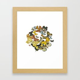 A Kaleidoscope Of Vintage Butterflies Vector Framed Art Print