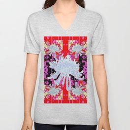 Black & Red Decorative Modern White Mums Patterns Flowers Unisex V-Neck