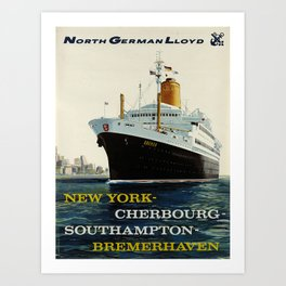north german lloyd   new york - cherbourg - southampton - bremerhaven  poster Art Print