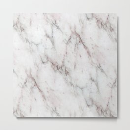 White and light pink accents marble stone print Metal Print