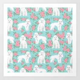 Toy Poodle floral bouquet pet portrait custom dog breed art pattern by pet friendly Art Print