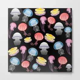 Jellyfishes of the Mediterranean Sea illustration with colorful pattern of jellyfishes on black background decor Metal Print