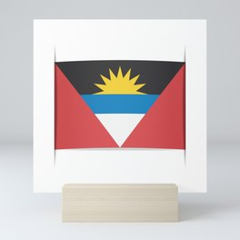Flag of Antigua and Barbuda.  The slit in the paper with shadows. Mini Art Print