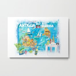 Antigua Barbuda Antilles Illustrated Caribbean Travel Map with Highlights of West Indies Island Drea Metal Print