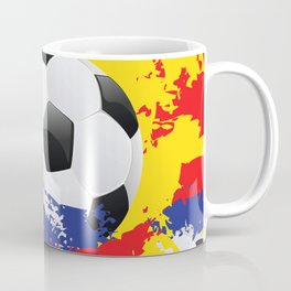 Football Ball and red, blue and yellow Strokes Coffee Mug