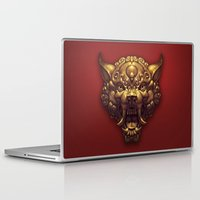 foo fighters Laptop & iPad Skins featuring Foo Wolf Red by Ilse Gort