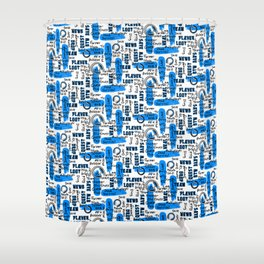 Gamer Lingo-White and Blue Shower Curtain