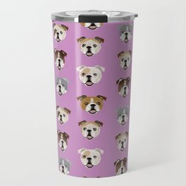 English Bulldog faces cute dog art pet portrait must have gifts for english bulldog owners Travel Mug