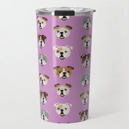 English Bulldog faces cute dog art pet portrait must have gifts for english bulldog owners Travel Mug