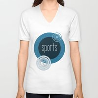 sports V-neck T-shirts featuring SPORTS by VIAINA DESIGN