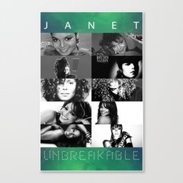 Janet Jackson Unbreakable - Black and White Canvas Print