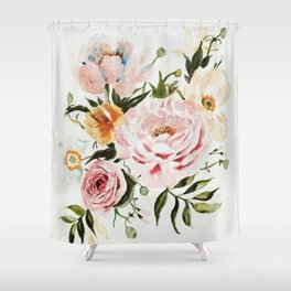 Loose Peonies & Poppies Floral Bouquet Shower Curtain