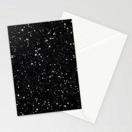 Glitter Stars2 - Silver Black Stationery Cards