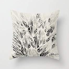 H. Fasciata Succulent Black White Print Throw Pillow