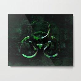 Green Grunge Biohazard Symbol Metal Print