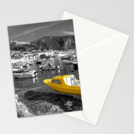 Yellow boat of Hvar in mono Stationery Cards