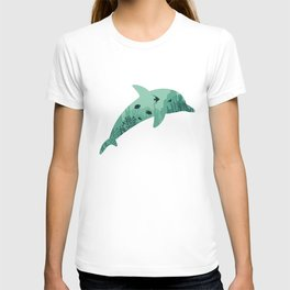 Dolphin coral silhouette T-shirt