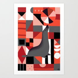 Patchwork Sea Lion Art Print