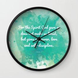 2 Timothy 1:7, Inspiring Bible Verse Wall Clock