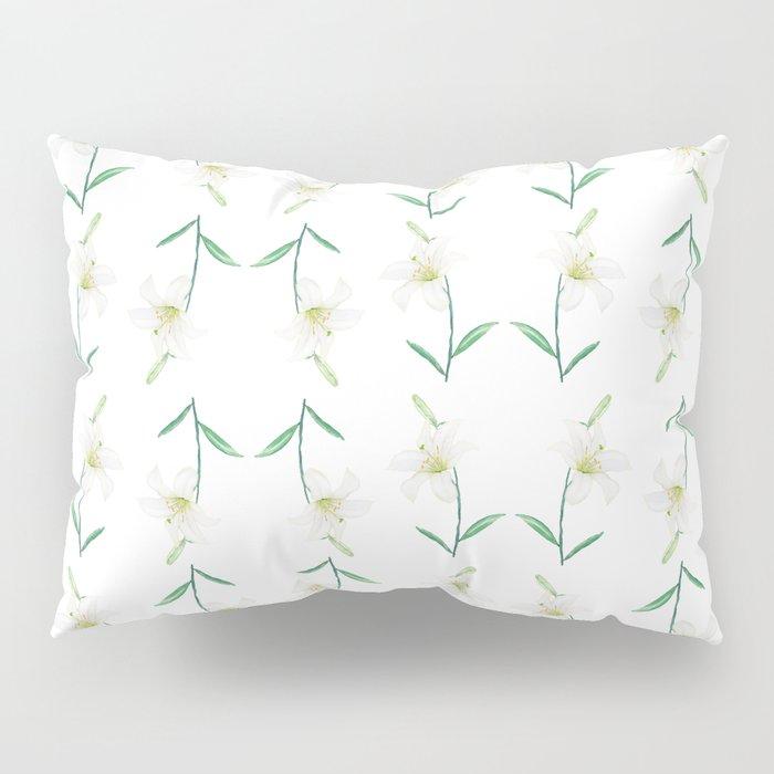 white lily watercolor Pillow Sham