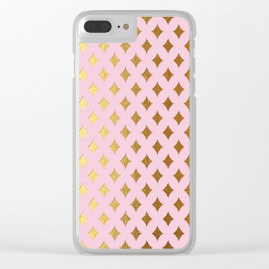Queenlike- pink and gold elegant quatrefoil ornament pattern Clear iPhone Case