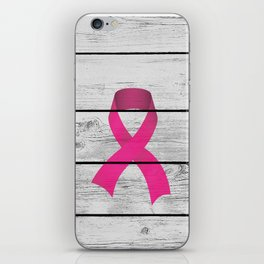 Rustic Chic Pink Ribbon Breast Cancer Survival Awareness iPhone Skin
