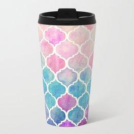 Rainbow Pastel Watercolor Moroccan Pattern Metal Travel Mug