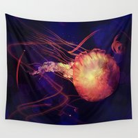 rave Wall Tapestries featuring Jellyfish of the Blacklight Electro Rave by Distortion Art